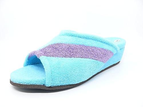 Zapatilla mujer estra por casa marca VANITY en rizo toalla color Azul - Ducados 572 -