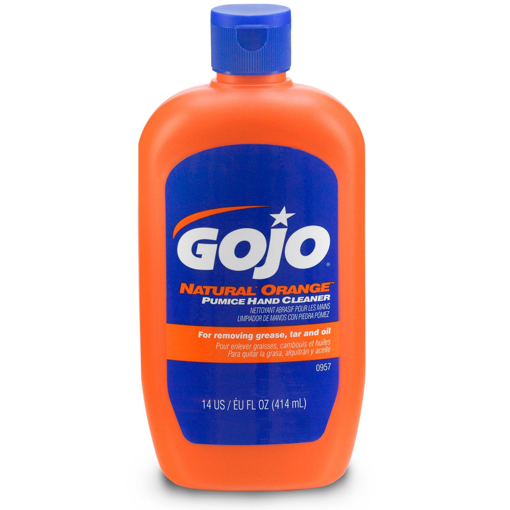 GOJO 0957-08 NATURAL ORANGe Pumice Hand Cleaner 14 fl oz Squeeze Bottle (Pack of 8)