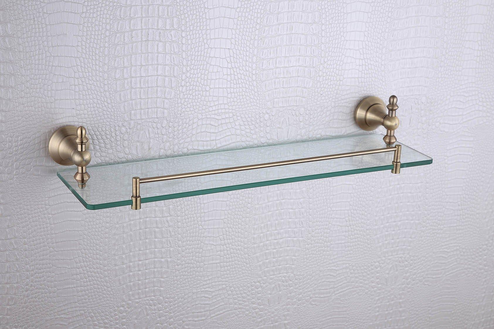 Cloud Power Stylish Vintage Style Bathroom Brass Single Glass Shelves Single Glass Shelves With Titanium Wall-mounted Single Glass Shelves