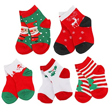 Unisex baby christmas socks yeapook cotton cute baby socks toddler xmas socks infant christmas socks for
