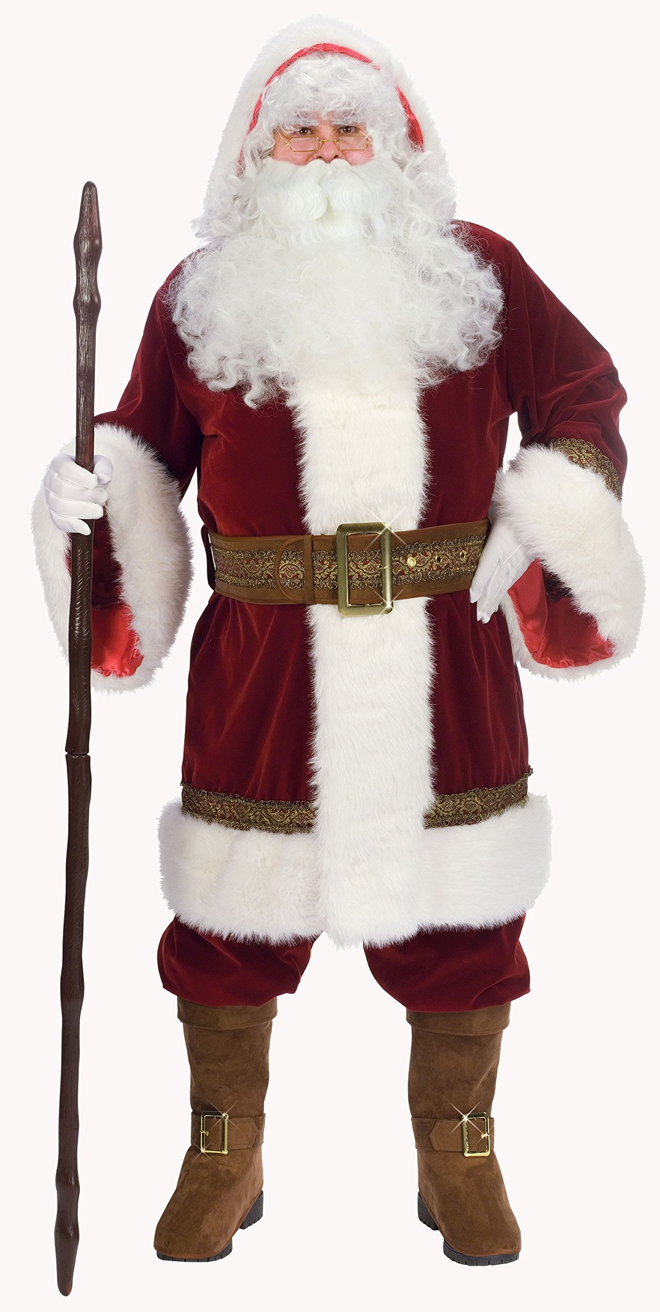 Fun World Costumes Men's Adult Old Time Santa Hooded Robe Set, Red/White, One Size