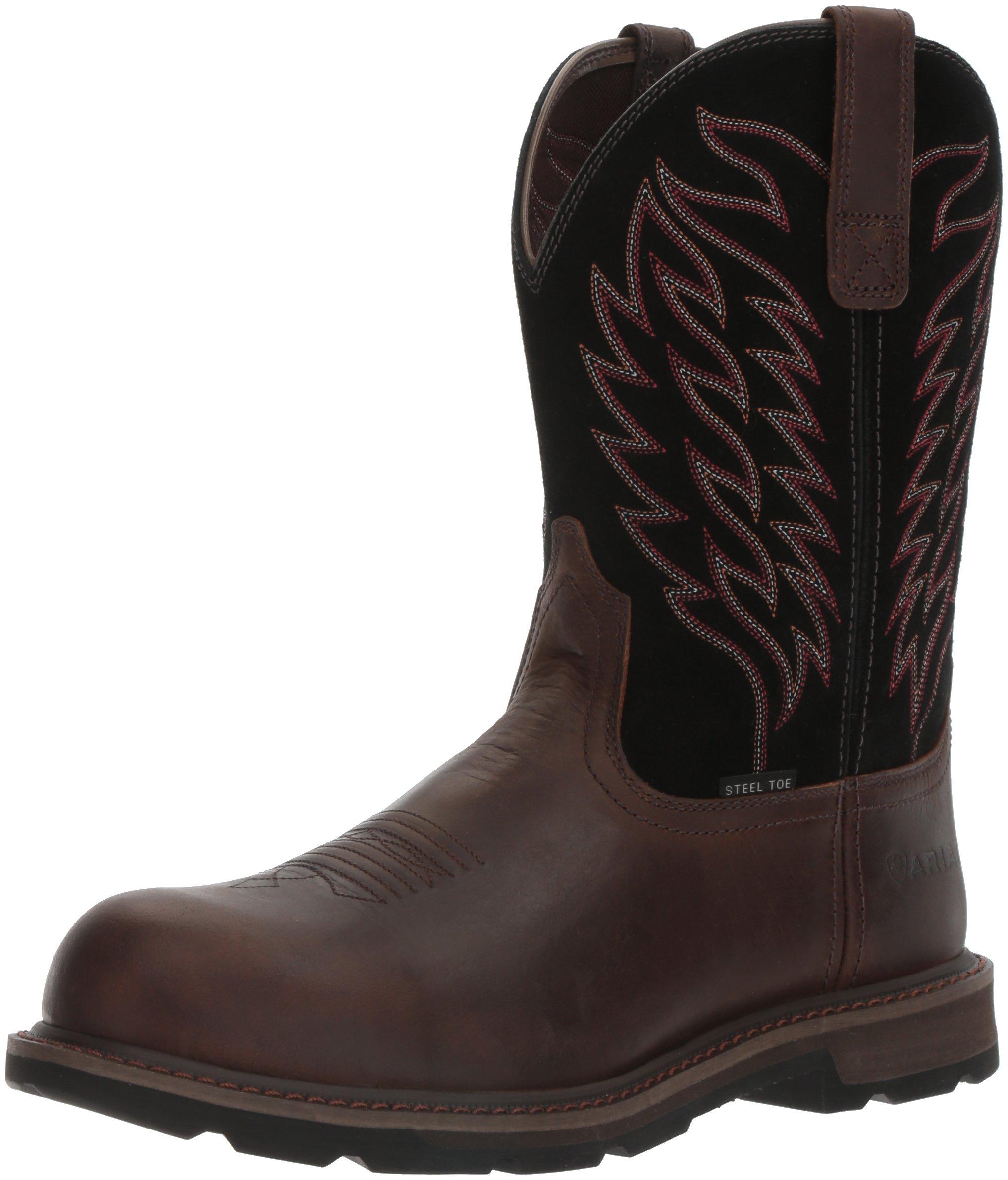 Ariat Work Men's Groundbreaker Pull-On Steel Toe Work Boot, Brown/Black, 9.5 D US