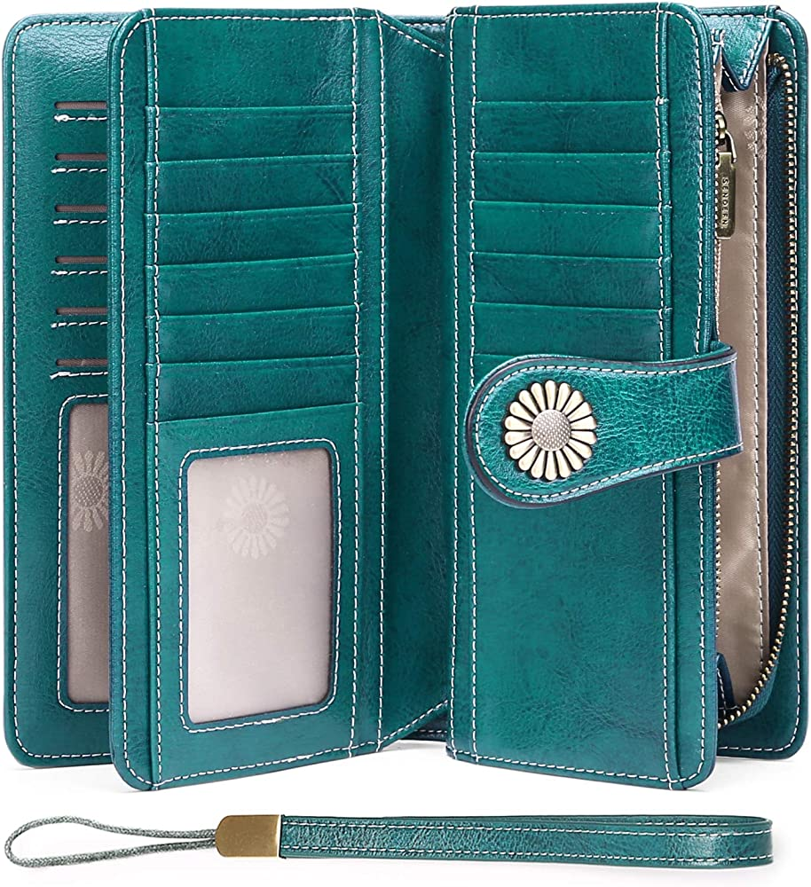 SENDEFN Women Leather Wallets RFID Blocking Credit Card Holder Wristlet Purse with Gift Box