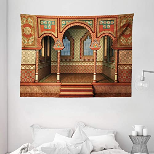 Ambesonne Orient Tapestry, Middle Eastern Oriental Style Interior Palace Architecture Vintage Art Design, Wide Wall Hanging for Bedroom Living Room Dorm, 80 X 60 , Golden Red