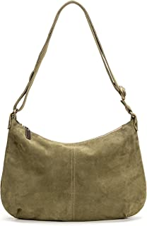 product image for Moss Italian Suede Medium Crossbody Hobo Bag