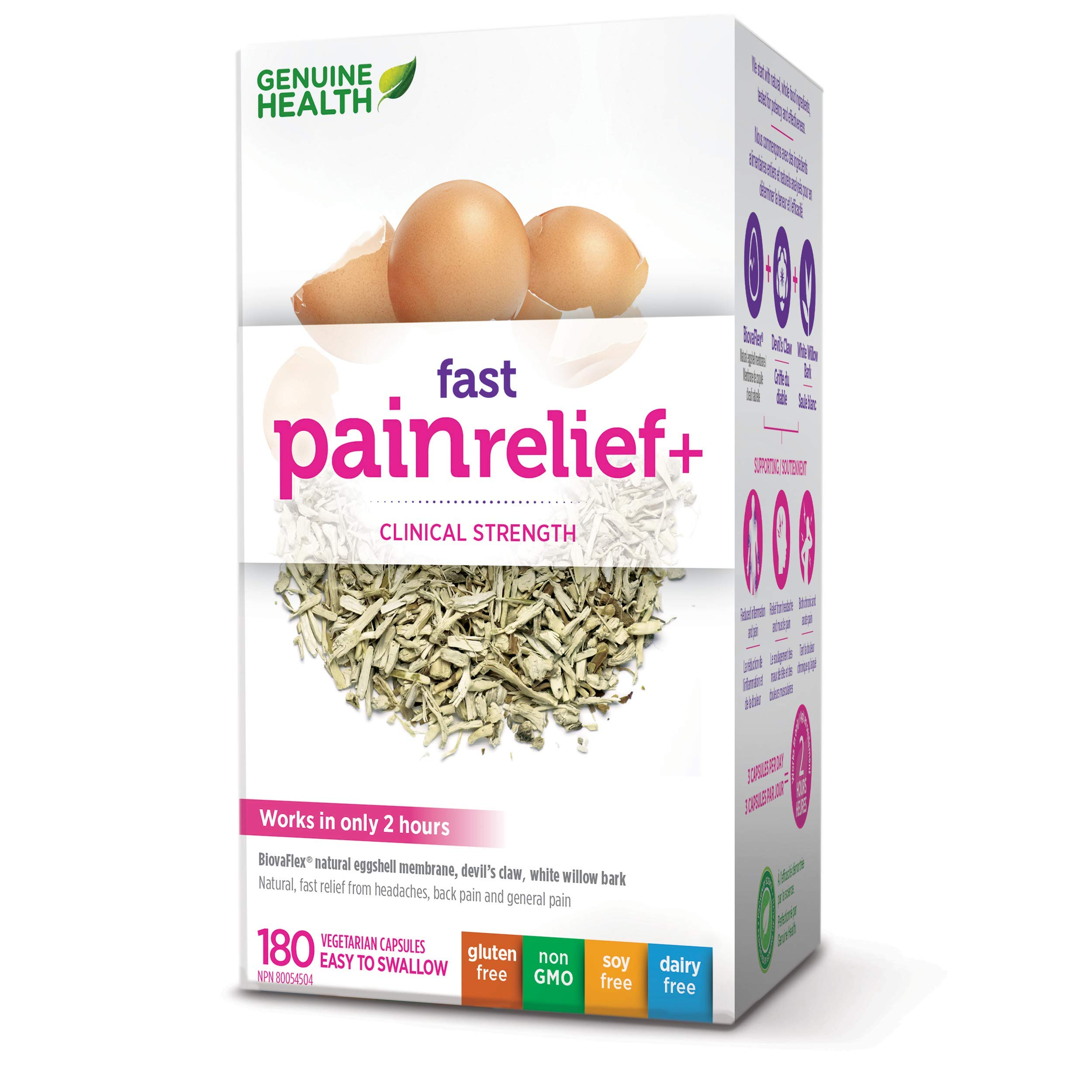 fast pain relief (formerly fast back care+) With NEM Natural Eggshell Membrane (180 Capsules) Brand: Genuine Health by Genuine Health