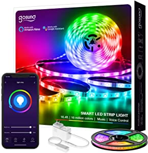 Smart LED Strip Lights Gosund Smart WiFi Tape Light Works with Alexa Google Home16.4ft, APP Control, Sync with Music, 5050 RGB Color Changing Lights for Bedroom, TV, Kitchen, Bar, Party (1pcs)