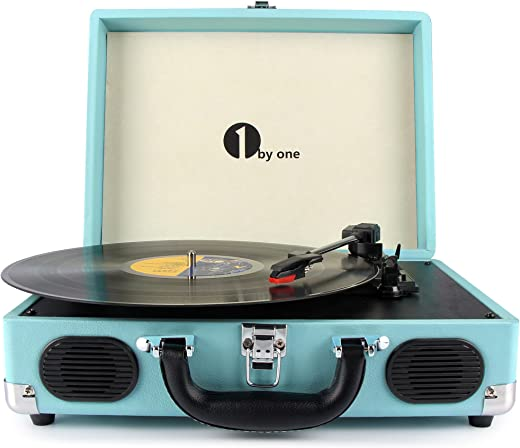 1 BY ONE Tocadiscos con Placa giratoria de 3 velocidades y Altavoces incorporados, Salida RCA, Auriculares, MP3, reproducción de música de móviles, Turquesa