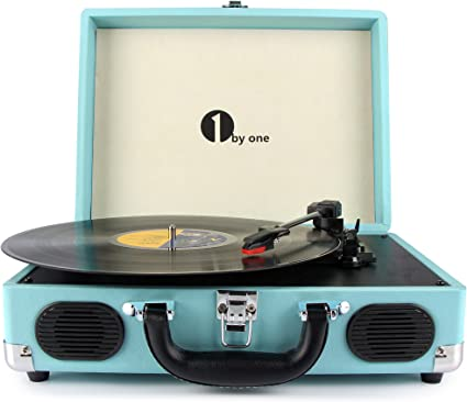 1byone Belt Driven 3 Speed Portable Stereo Turntable with Built In Speakers, Supports RCA Output, Headphone Jack, MP3, Mobile Phones Music Playback, ...