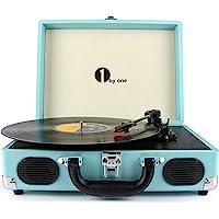 1byone tocadiscos con placa giratoria de 3 velocidades y altavoces incorporados, salida RCA / auriculares / MP3 / reproducción de música de móviles, turquesa