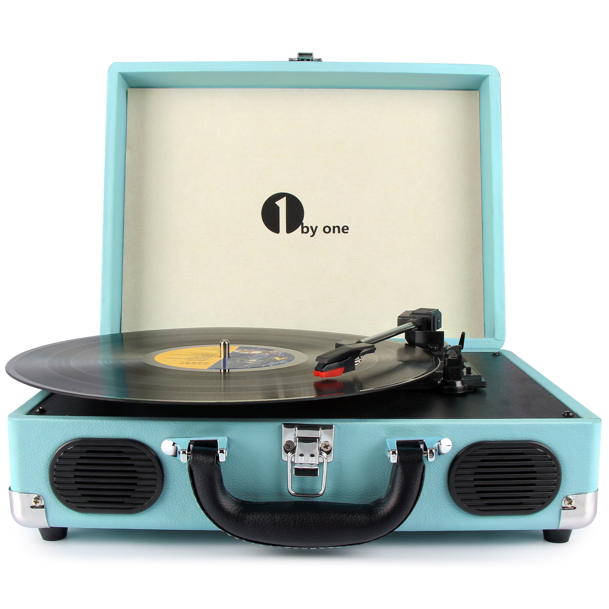 1byone Belt Driven 3 Speed Portable Stereo Turntable with Built in Speakers, Supports RCA Output, Headphone Jack, MP3, Mobile Phones Music Playback, Turquoise by 1byone
