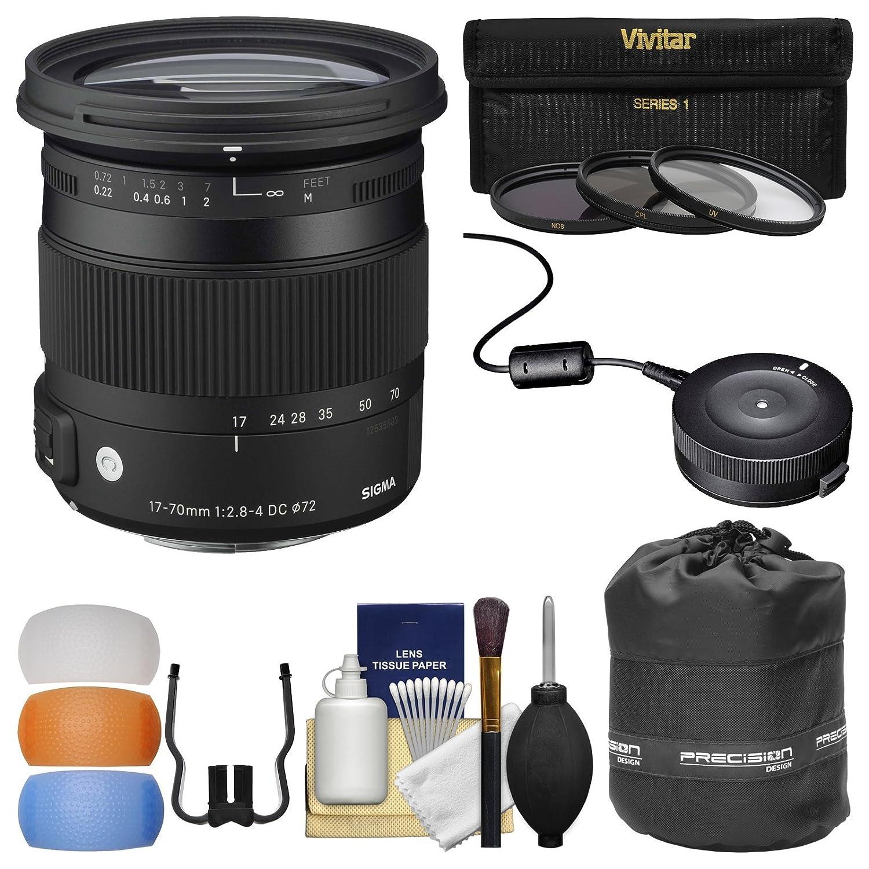 シグマ17 – 70 mm f / 2.8 – 4コンテンポラリーDCマクロOS HSMズームレンズFor Canon EOSカメラ) with USB Dock + 3 UV/CPL / nd8フィルタ+ポーチ+吹き出し口+キット   B01FMXJA8C