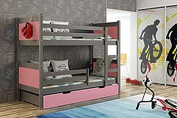 JUSTyou Leon Cama Juvenil Infantil Litera con cajones (LxBxH): 190x85x150 cm Gris Grafito Rosa: Amazon.es: Hogar