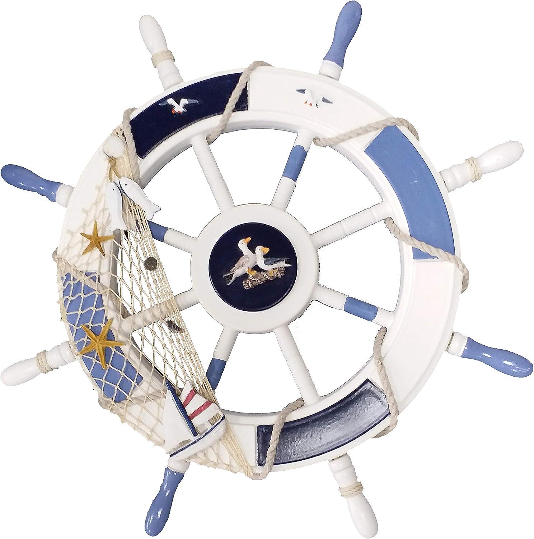 Wendin 24 Inch (62cm) Ornamental Nautical Beach Home Lake House Wall Decor Boat Steering Wheel Ship Steering Wheel Fishing Net sea Birds Fish