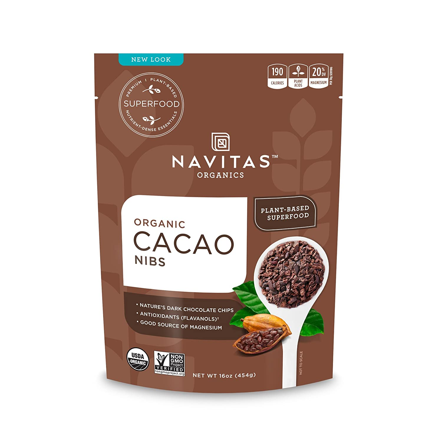 Amazon.com : Navitas Organics Cacao Nibs, 16 oz. Bags (Pack of 2) -  Organic, Non-GMO, Fair Trade, Gluten-Free : Baking Cocoa : Grocery &  Gourmet Food