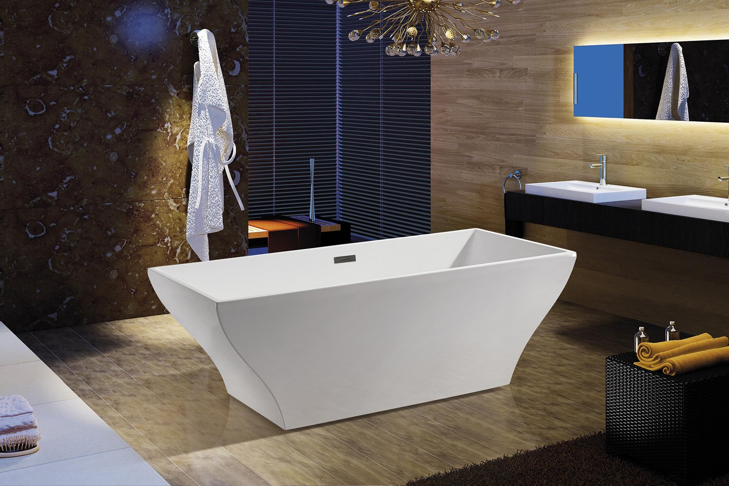 AKDY F296A Bathroom White Color Free Standing Acrylic Bathtub     Amazon.com