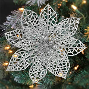 Svnntaa 36 Pack 6 Inch Christmas Glitter Poinsettia Artificial Flowers Picks with Stems Christmastree Ornaments for Christmas Tree Xmas Wedding Party Wreath Decor (Silver)