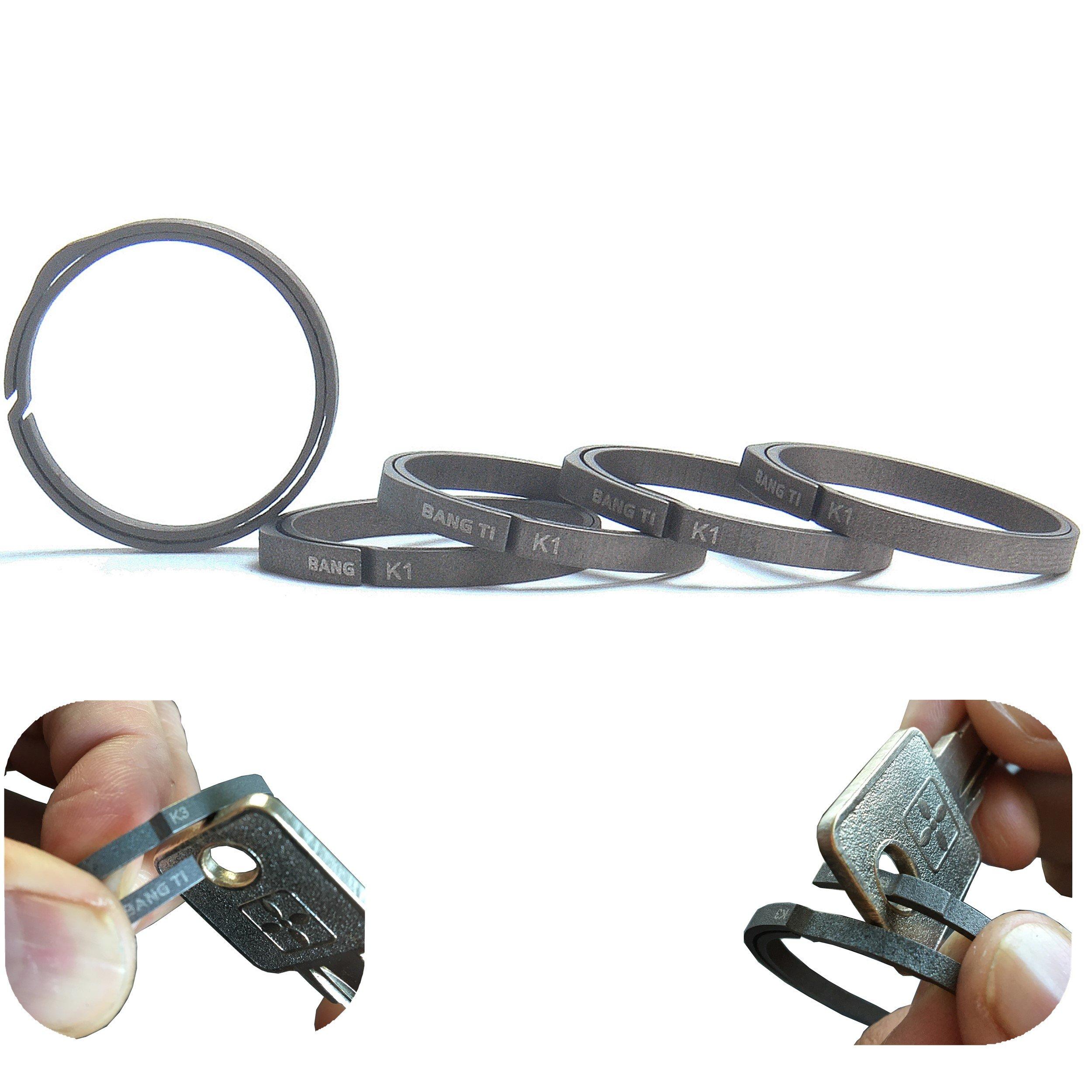 BANG TI Titanium Nail-Saving Flexible Small Keyring (K1, 26mm/1.02'', 5-pack)