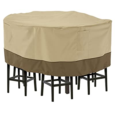 Classic Accessories Veranda Water-Resistant 94 Inch Tall Round Patio Table & Chair Set Cover : Garden & Outdoor