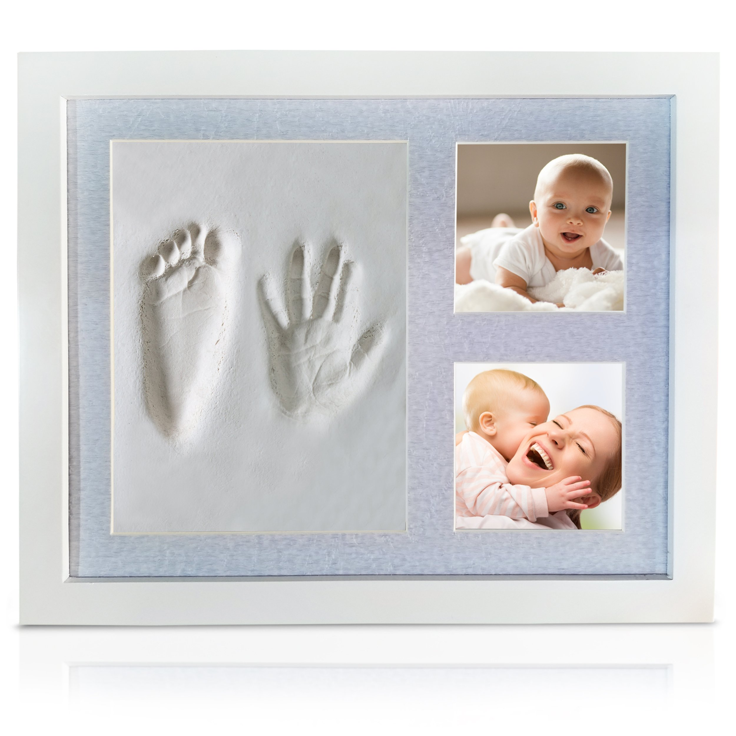 Veahma Baby Quality Clay Imprint Kit! White Wood Picture Frame|(BLUE) Mat|Non-Toxic Clay|Hand/Foot Print Kit|Unique Baby Shower Gift for New Born Baby, Boy, Girl, Pet, Parents! (Light Blue)