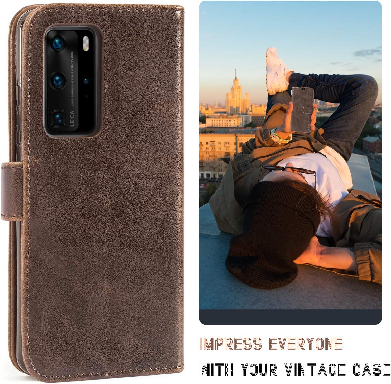 Mulbess Funda Huawei P40 Pro Vino Rojo Libro Caso Cubierta Vintage de Billetera Cuero de la PU con Tapa Magn/ética Carcasa para Huawei P40 Pro Case