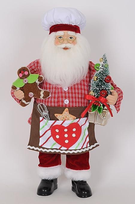 amazon com 19 inch standing kitchen chef cook santa claus figurine