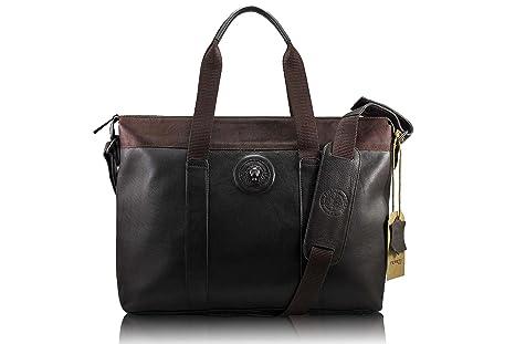 FERETI borsa portatile tracolla Marrone uomo vera pelle e Leone 3D ... b47e4569505
