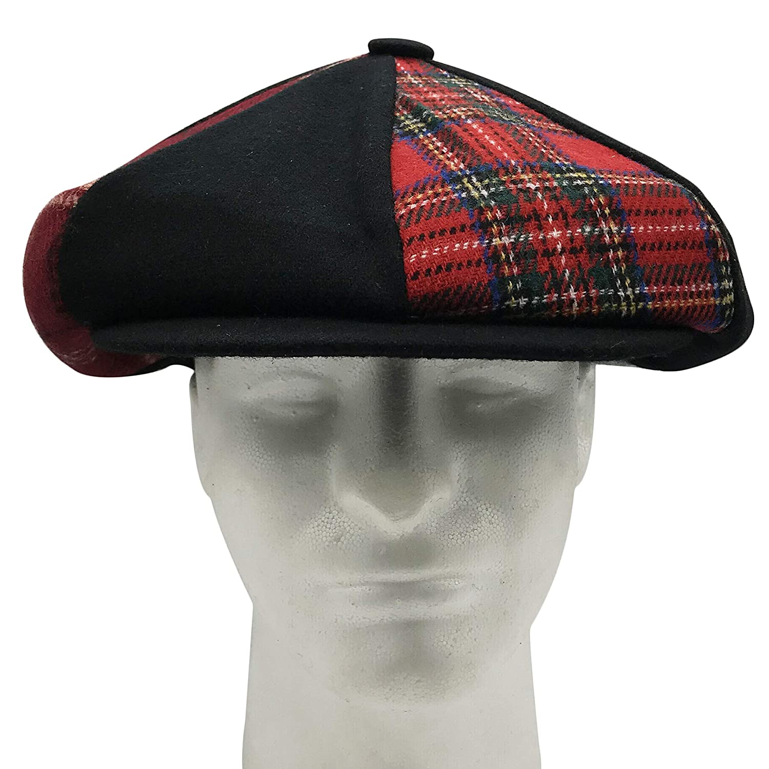 2eaa8c99aab77 Amazon.com: Patch Combo Wool Applejack Newsboy Cap Made in USA  (BlackPatch): Clothing