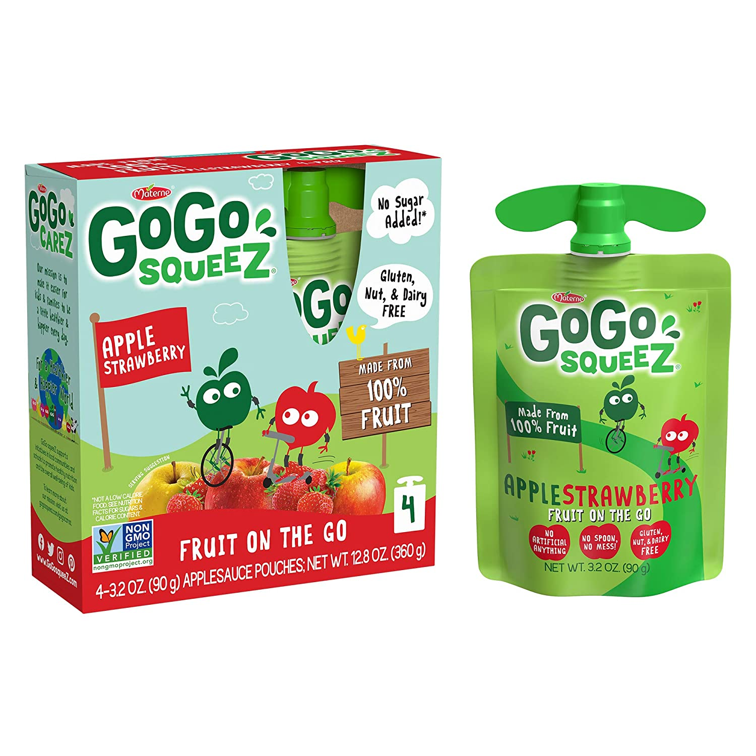 GoGo squeeZ Applesauce, Apple Strawberry, 3.2 Ounce (4 Pouches), Gluten Free, Vegan Friendly, Unsweetened Applesauce, Recloseable, BPA Free Pouches