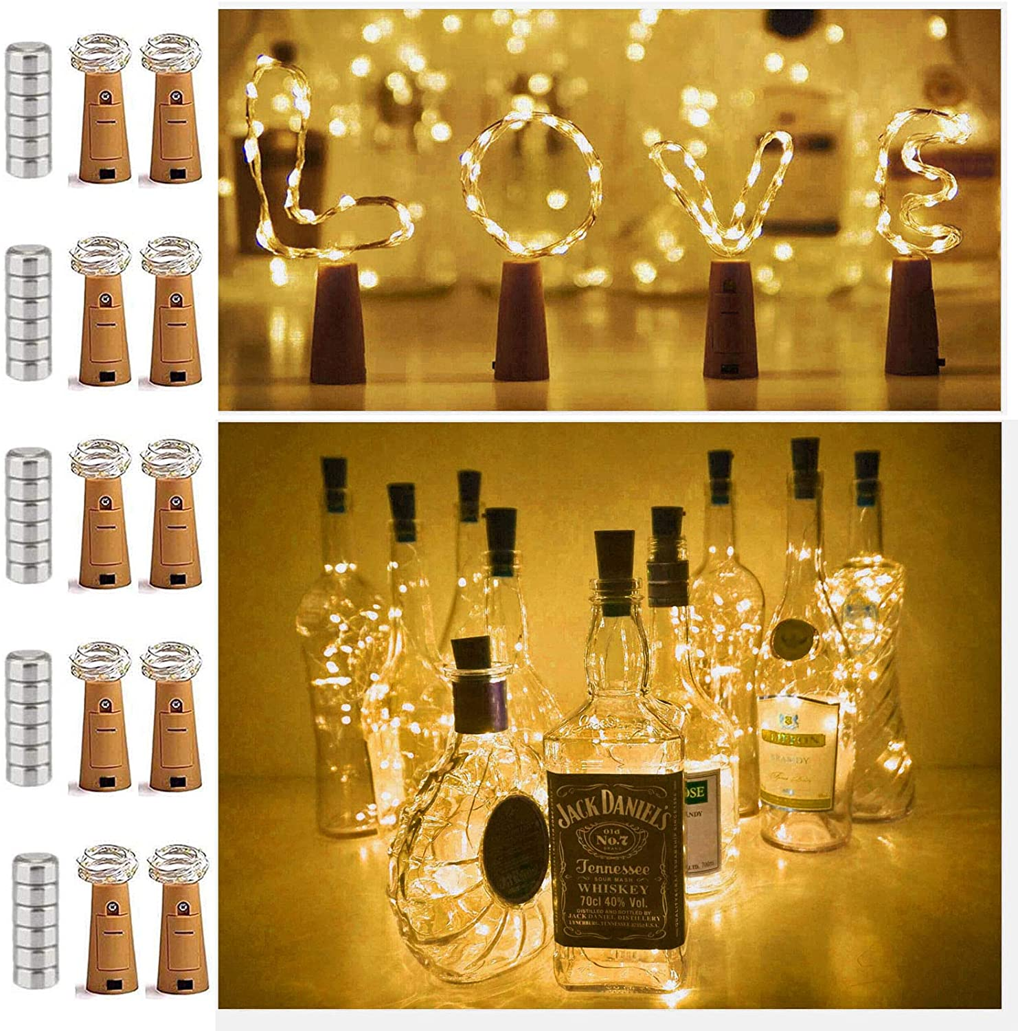 Amazon Com 10 Pack 20 Led Wine Bottle Cork Lights Mini Fairy String Lights Copper Wire Battery Operated Starry Lights For Diy Festival Wedding Party Indoor Outdoor Decoration Warm White Home Kitchen