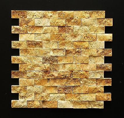 Split Face 1x2 Gold Yellow Travertine For Kitchen Bathroom - Wood-backsplash-exterior