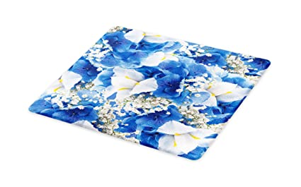 Small Size Arabesque Floral Oriental Persian Afghan Medieval Baroque Tiles Shapes Tribal Artsy Lunarable Arabian Cutting Board Blue White Decorative Tempered Glass Cutting and Serving Board
