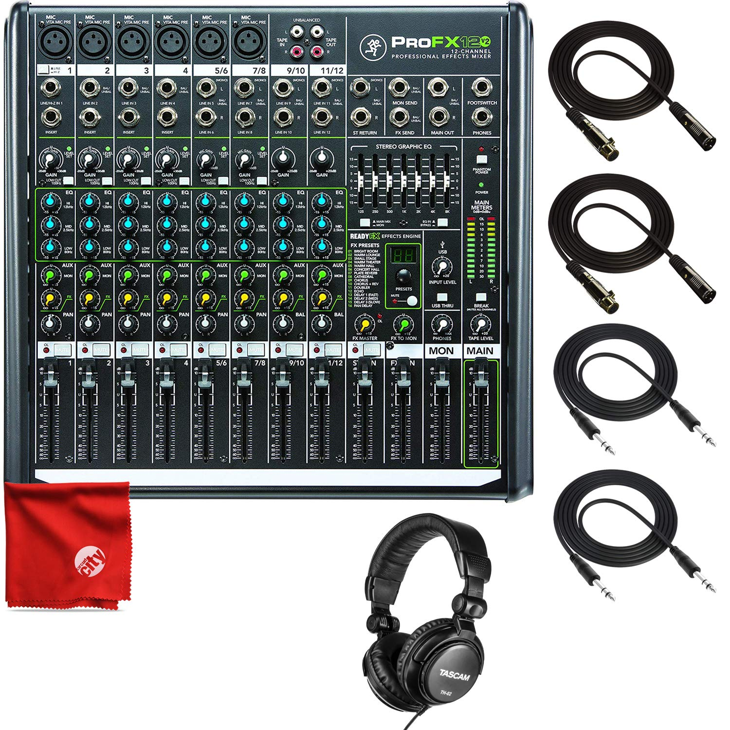 Mackie PROFX12V2 12-Channel Mixer with USB and Effects Bundle Including Tascam TH-01 Headphones + 2X TRS Cables + 2X XLR Cables + Microfiber Cleaning Cloth