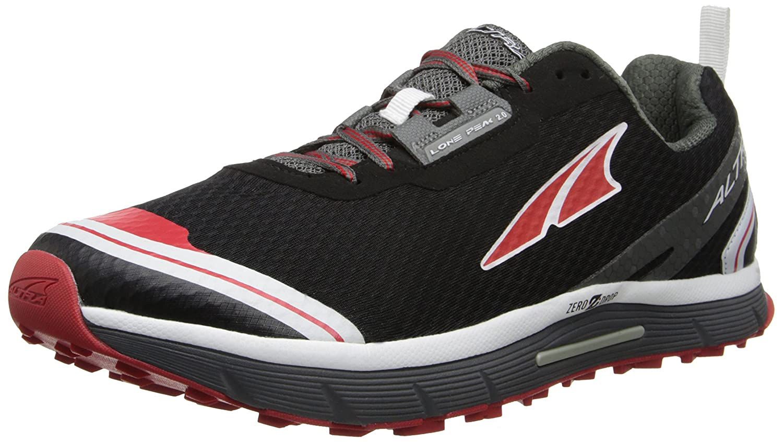 Altura - Zapatillas de Running por Caminos para Hombres Lone Peak 2.0 Zero Caída - Negro/Rojo, 45, Malla 45|Negro / Rojo