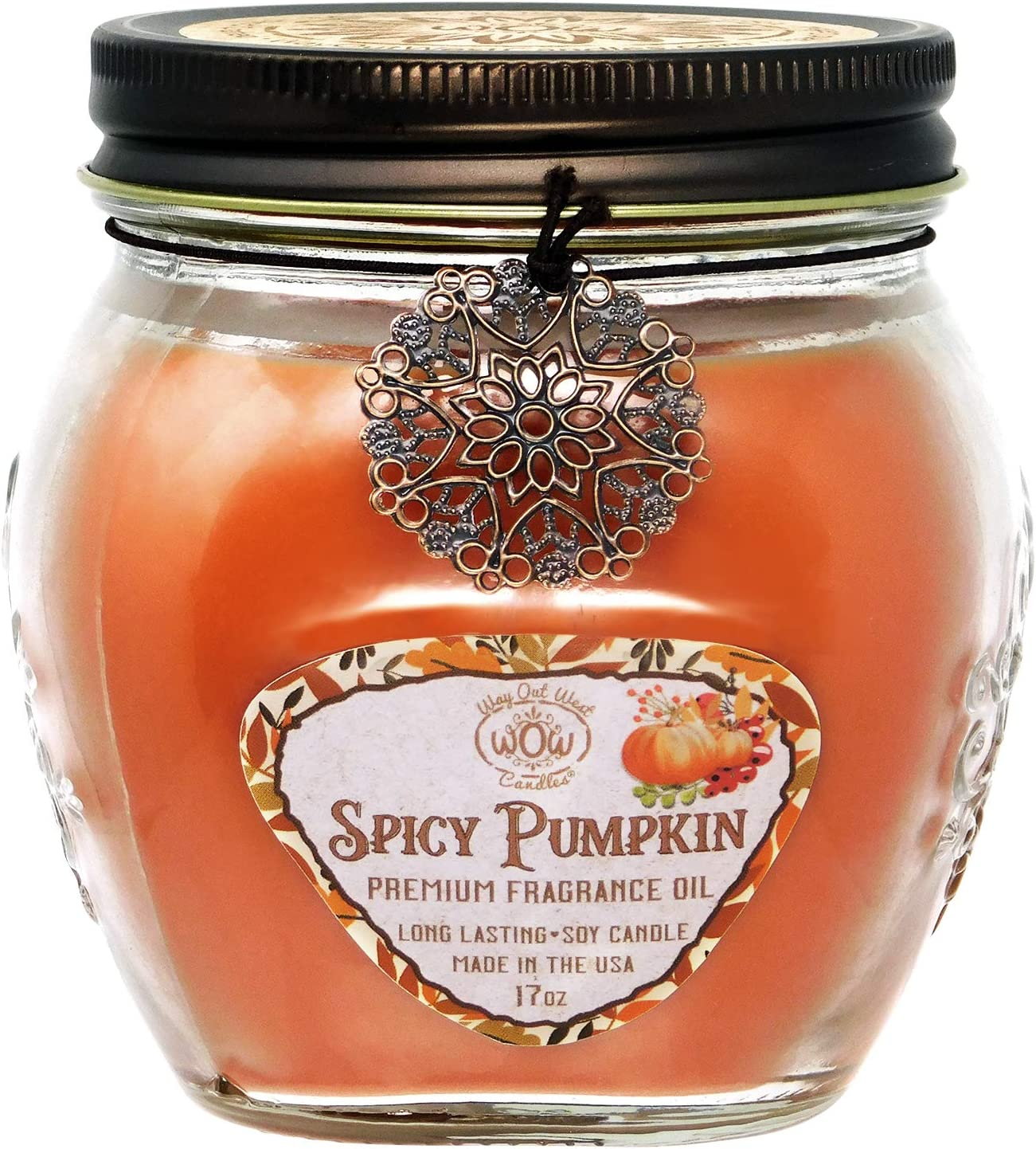 Way Out West Spicy Pumpkin Jar Candle - Large 17 Ounce - Fragrant & Long Lasting Soy Wax Blend - Perfect Fall Candle - Smells Like Moms Very Best Pumpkin Pie! Makes a Great Housewarming Gift