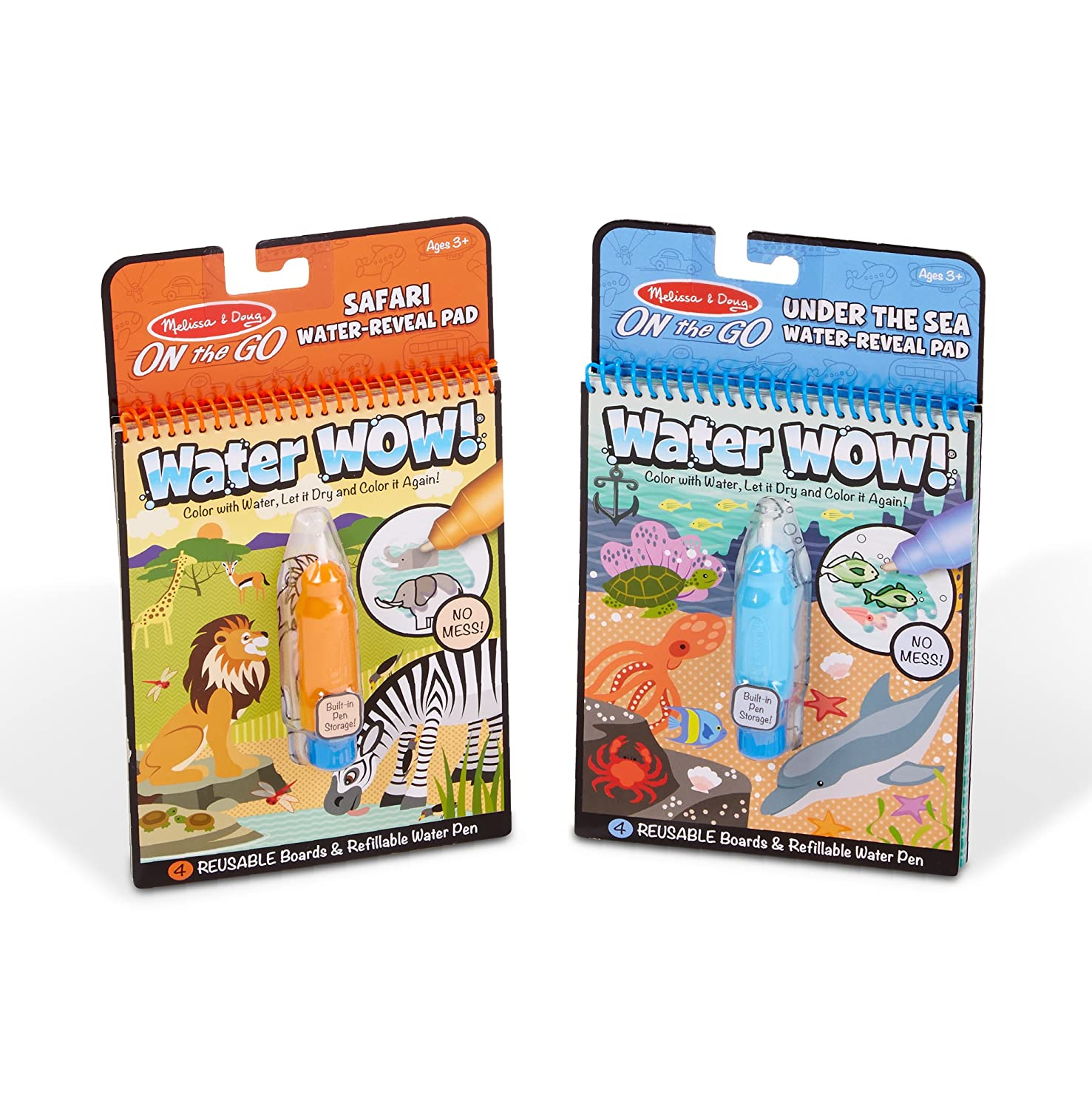 Melissa & Doug Wow! Under The Sea Water Reveal Pad and Safari Water Reveal Pad Bundle