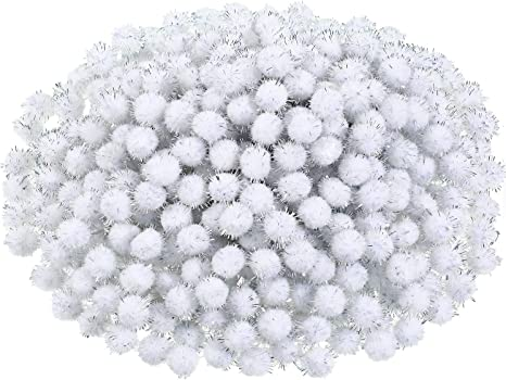 White 600 Pieces Christmas Pom Poms Fluffy Pom Balls Mini Craft Pompoms for Christmas DIY Party Decorations
