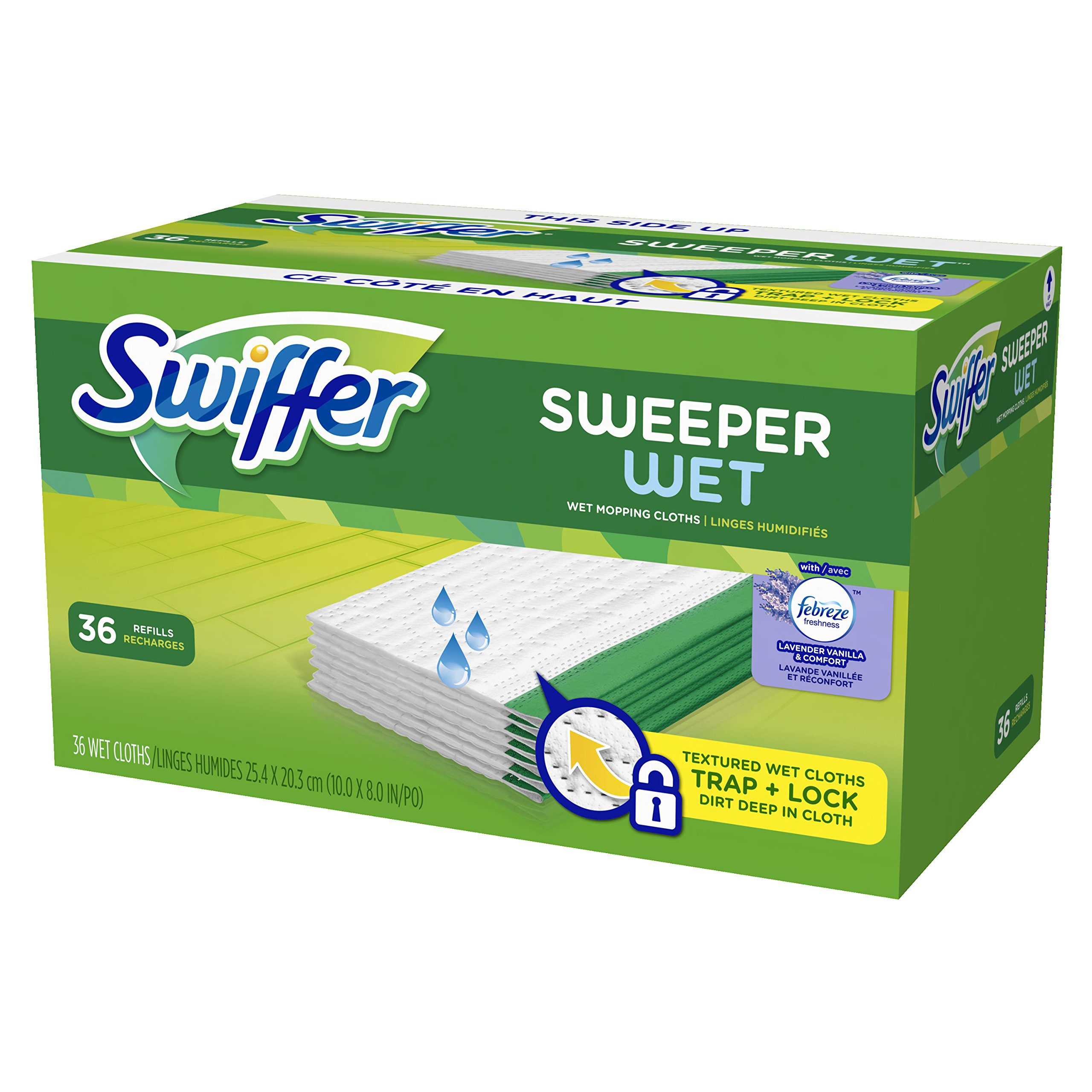 Swiffer Sweeper Wet Mop Refills for Floor Mopping and Cleaning, All Purpose Floor Cleaning Product, Lavender Vanilla and Comfort Scent, 36 Count by Swiffer (Image #8)