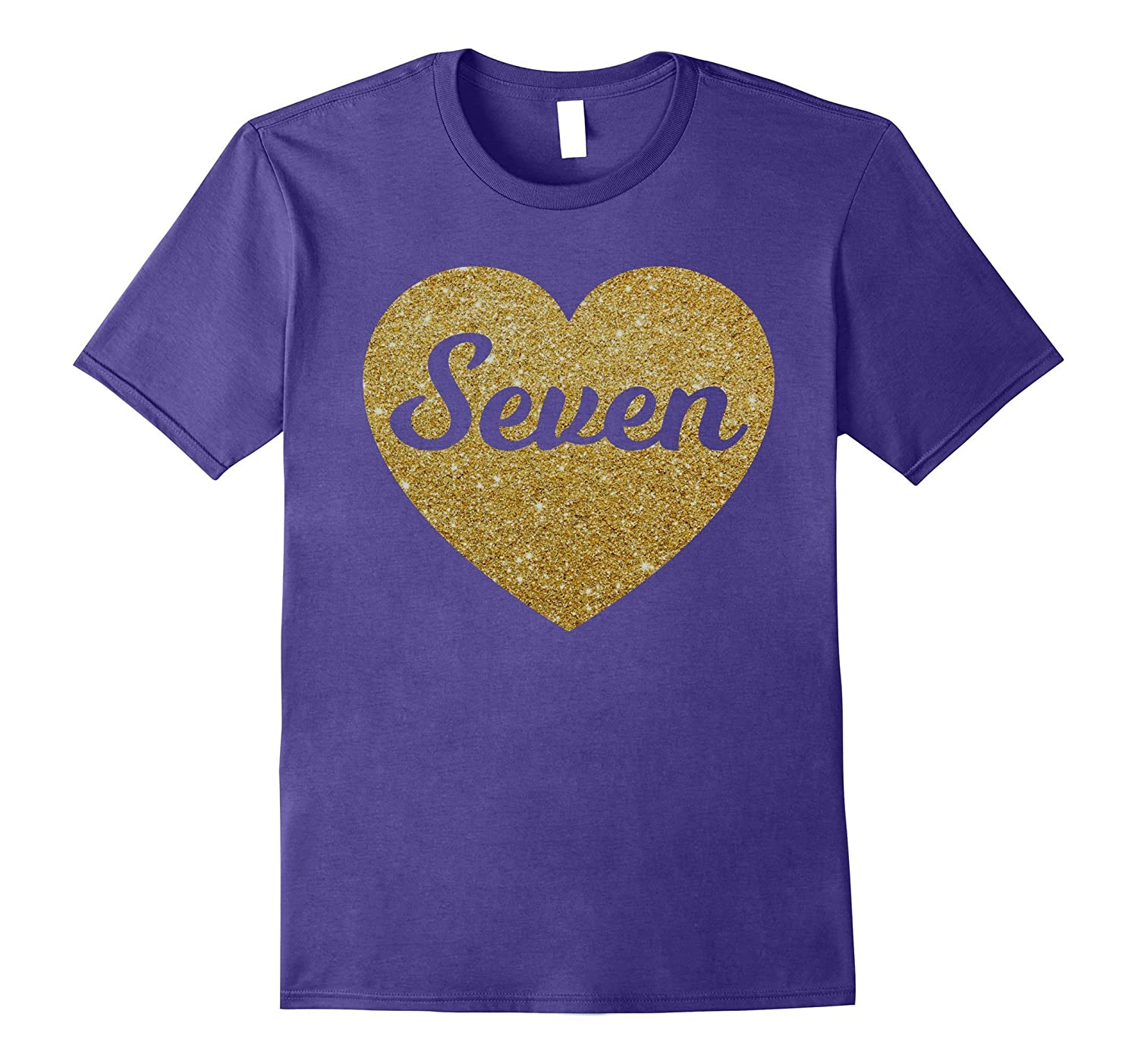 Seven - 7th Birthday Shirt for Girls, Gold Heart Design-T-Shirt