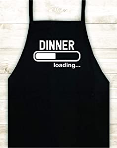 Dinner Loading Apron Custom Design Heat Press Vinyl BBQ Cook Grill Barbeque Chef Funny Gift Cow Steak Men Pig Pork Bacon Party Bake Girls Food Dad Father Gift Birthday Fire Nerd Gamer Video Game