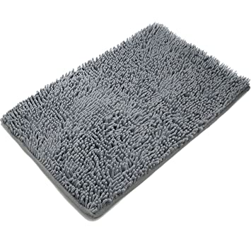 Good Vdomus Non Slip Microfiber Shag Bathroom Mat, 20 X 32 Inches, Dark