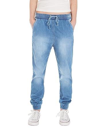 0f1136afa27 Fraternel pantalon jeans femme ample décontracté Bleu clair XS   34 - W27