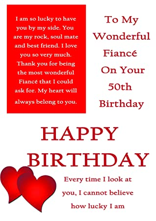 fiance 50th birthday card with removable laminate amazon co uk