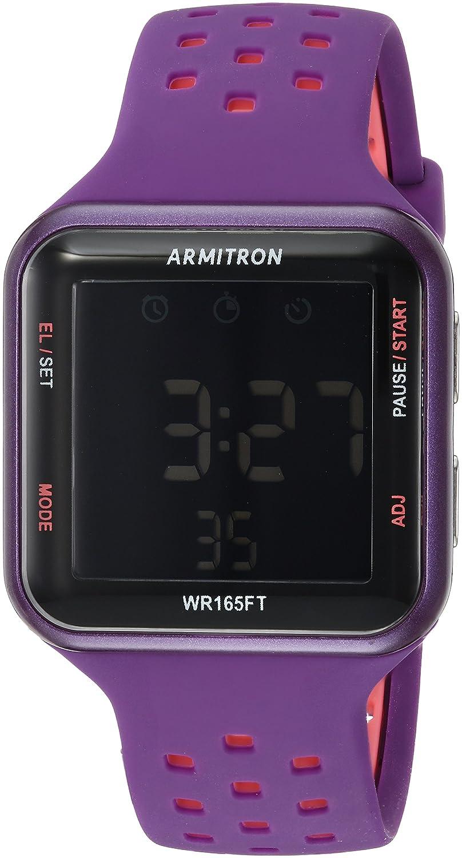 Armitron Sportユニセックス40 /8417purピンクAccented Digitalクロノグラフパープル穴あきシリコンストラップウォッチ B074W9C53T