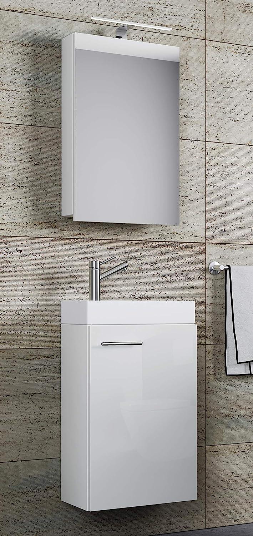 Amazon De Vcm Waschplatz Waschbecken Schrank Spiegelschrank Wc