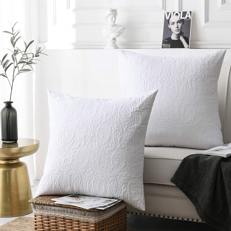 MarCielo 2 Pack Euro Sham Covers Euro sham 26x26 Euro Sham White 26 x 26 inches (White)