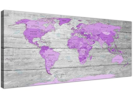 826e27d35ef Wallfillers Large Purple and Grey Map of World Atlas Canvas Wall Art Print  Modern 120cm Wide - 1298  Amazon.co.uk  Kitchen   Home