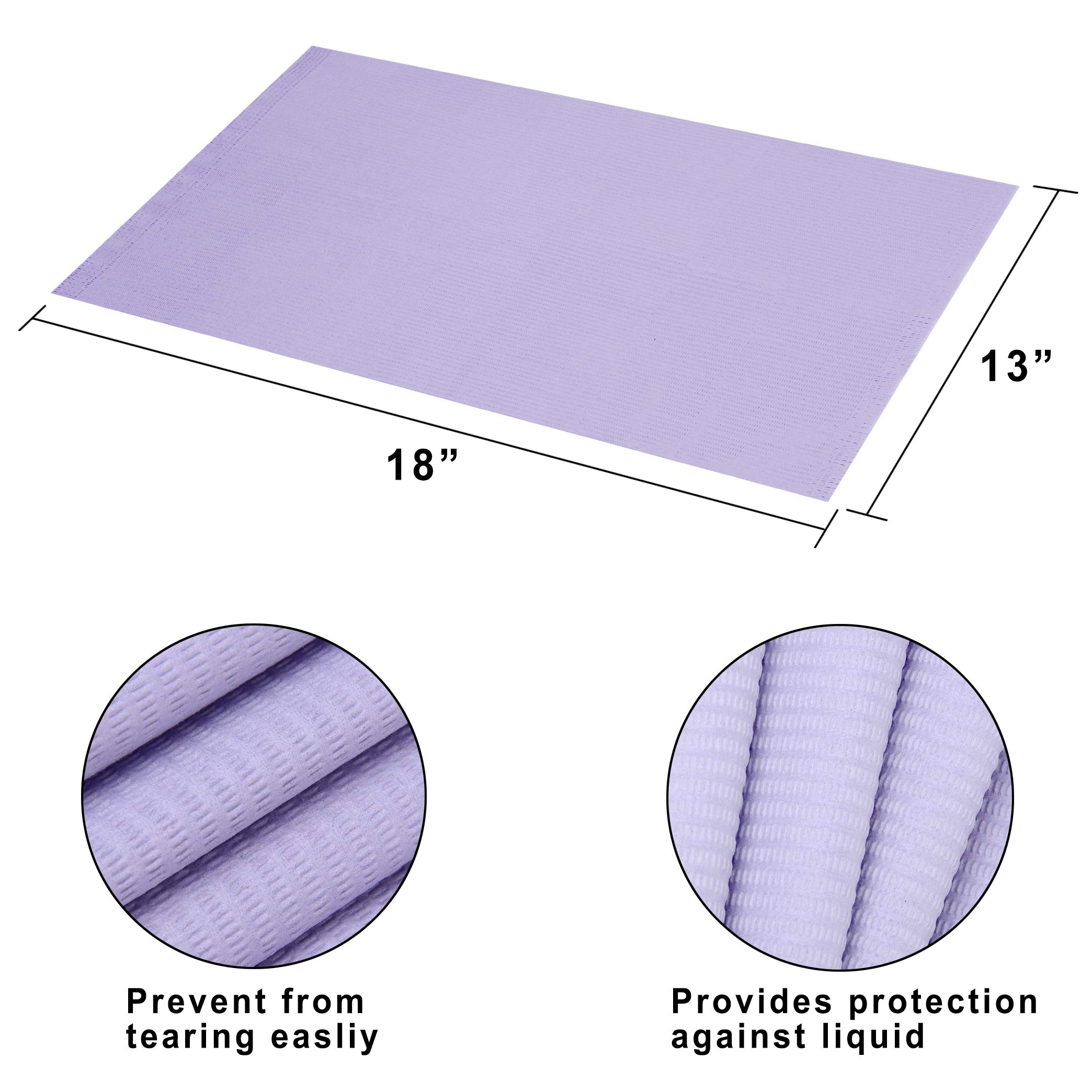 """(Pack of 500) Dental Bib 13"""" X 18"""" 3 Ply Purple Premium Disposable Waterproof Patient Bibs /2 Ply Tissue + 1 Ply Poly/Polyback Sheet; Waterproof Tattoo Bibs, Tattoo Tray Covers and Dental Napkins by JJ CARE (Image #4)"""