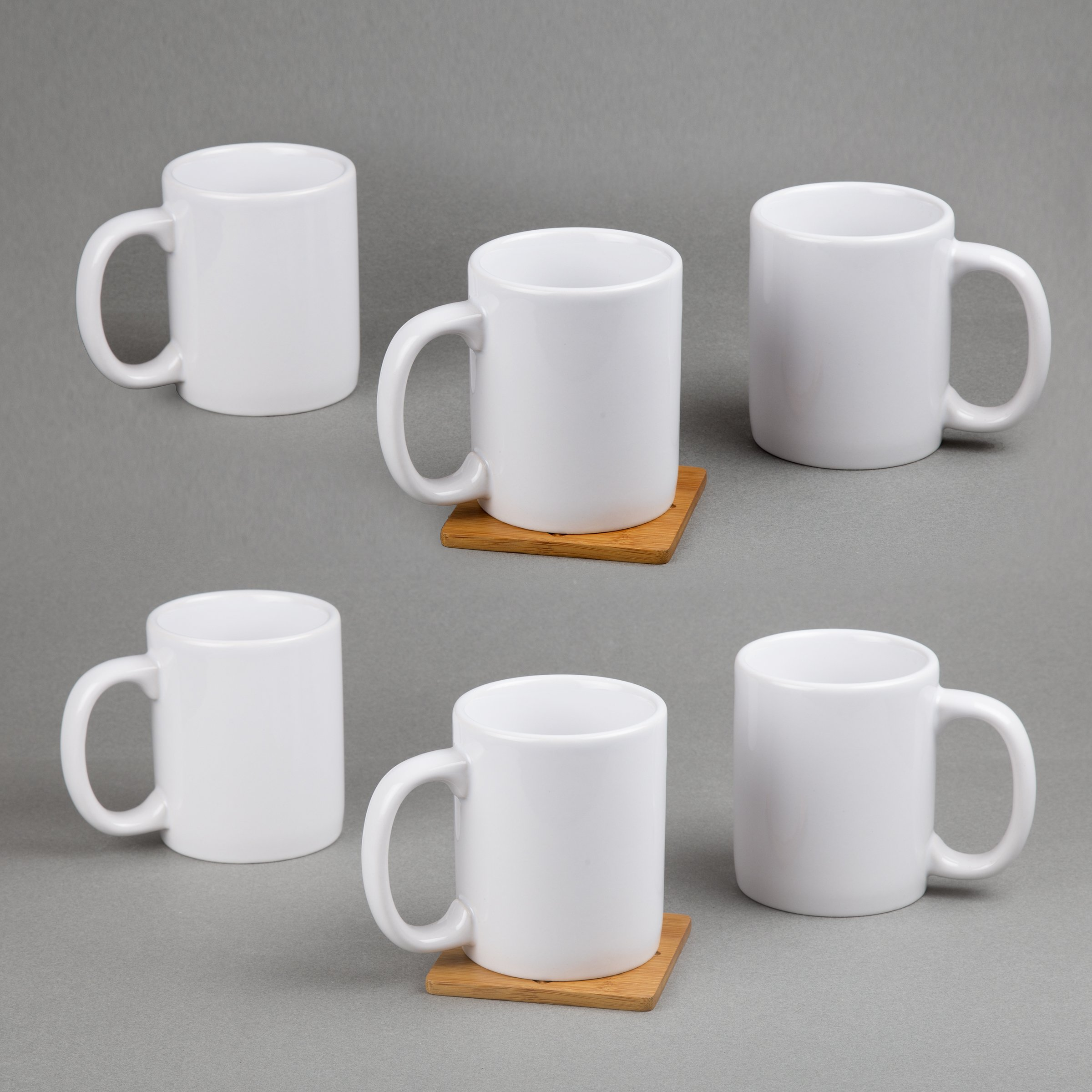 Creative Home 85355 Set of 6 Piece, 12 Oz Ceramic Coffee Mug Tea Cup, 3-1/4'' D x 4'' H, White by Creative Home (Image #5)