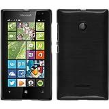 Funda de silicona para Microsoft Lumia 435 - brushed plata - Cover PhoneNatic Cubierta + protector de pantalla